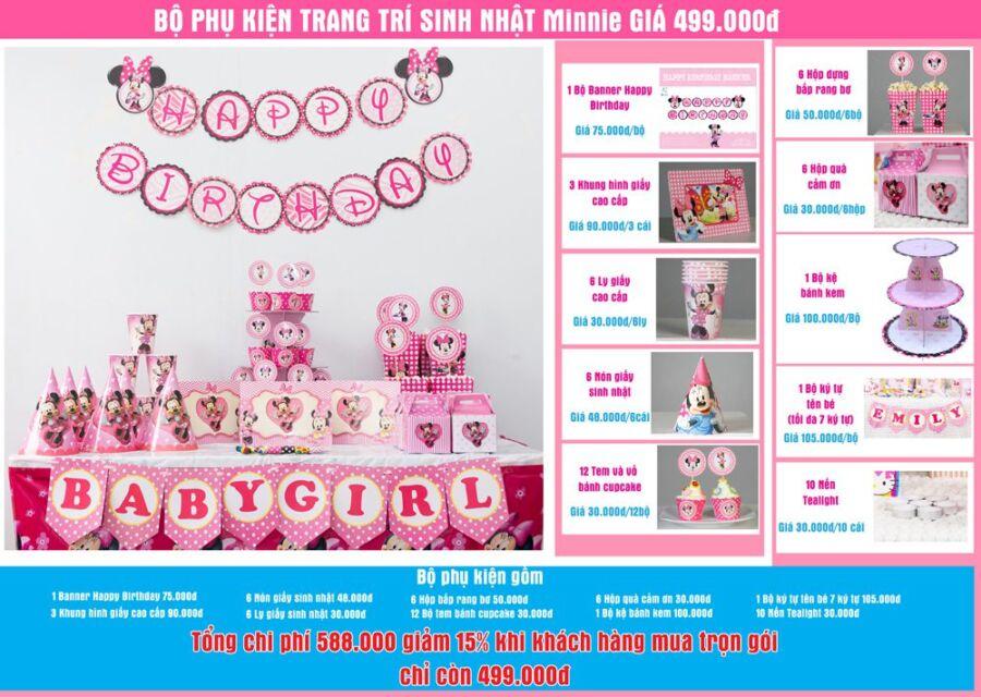 Bộ phụ kiện sinh nhật Minnie