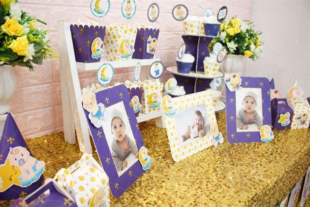 Bàn tiệc sang trọng với full set Baby Boy màu xanh hoàng gia