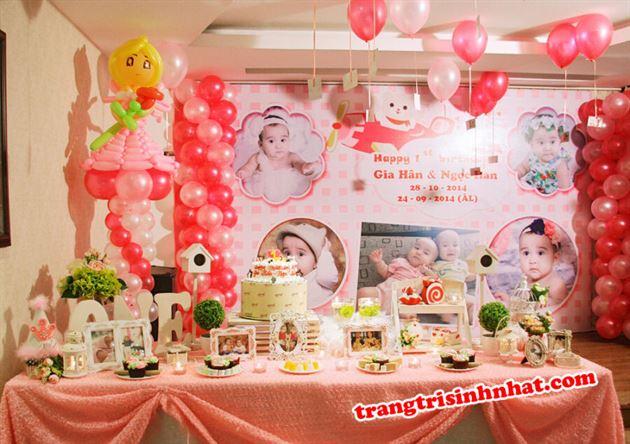 Trọn gói trang trí sinh nhật cho hai bé gái sinh đôi