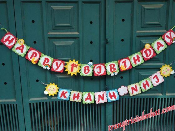 Dây Chữ Happy Birthday vải nỉ và Tên Bé 2