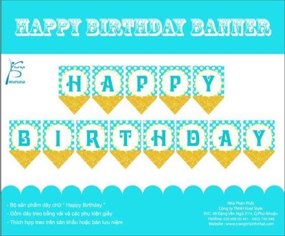Dây chữ Happy Birthday màu xanh min vàng