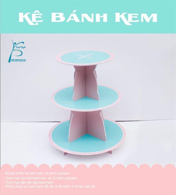 Bộ kệ bánh kem màu hồng xanh min