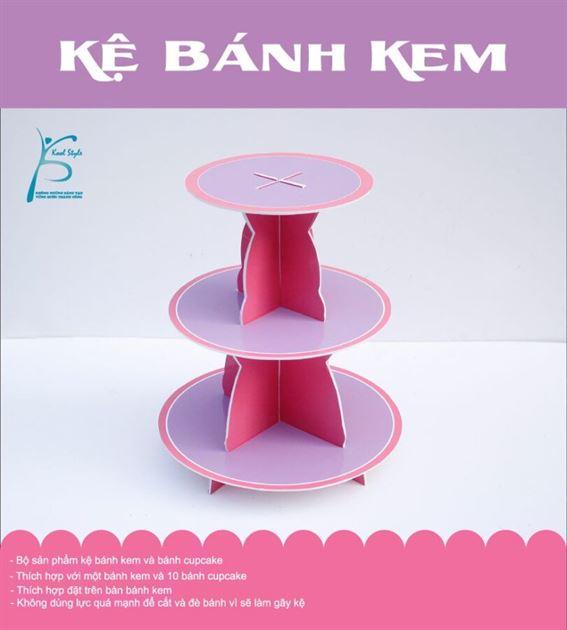 Bộ kệ bánh kem sinh nhật màu hồng tím