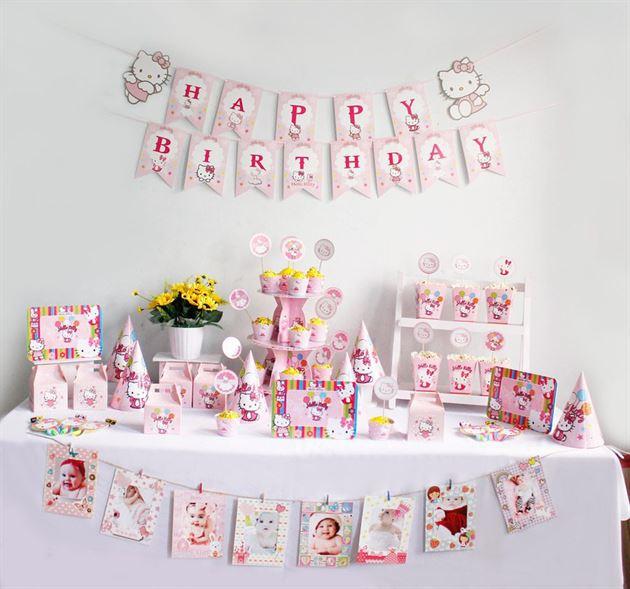 Bộ phụ kiện sinh nhật bé gái KITTY