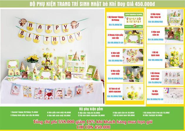 Set phụ kiện sinh nhật bé trai Tuổi Khỉ