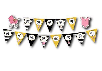 Dây chữ Happy Birthday baby girl màu đen kim tuyến