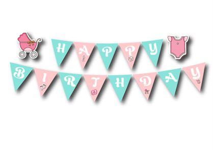 Dây chữ Happy Birthday baby girl màu hồng xanh min