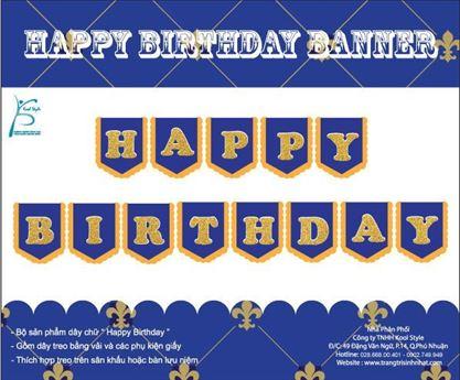 Dây chữ Happy Birthday màu xanh hoàng gia