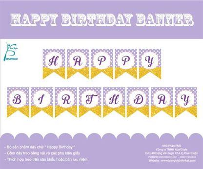 Dây chữ Happy Birthday màu tím chấm bi