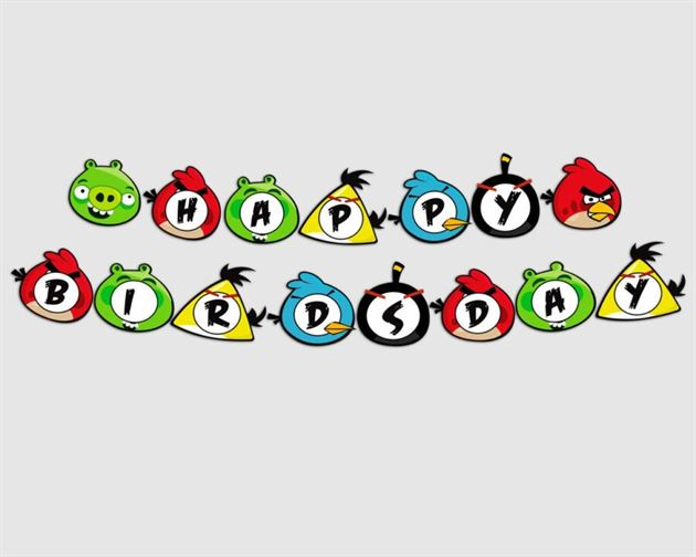 Dây chữ Happy Birthday Angry Birds