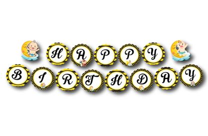 Dây chữ Happy Birthday baby boy màu vàng đen