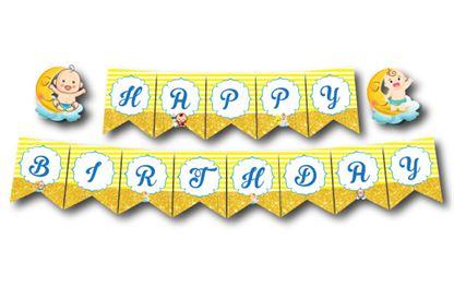 Dây chữ Happy Birthday baby boy màu vàng hoàng gia