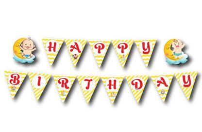 Dây chữ Happy Birthday baby boy màu vàng zigzag