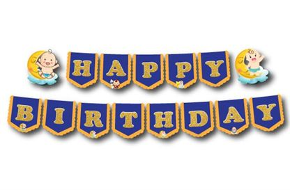 Dây chữ Happy Birthday baby boy màu xanh hoàng gia