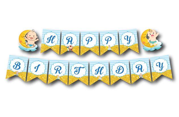 Dây chữ Happy Birthday baby boy màu xanh da trời