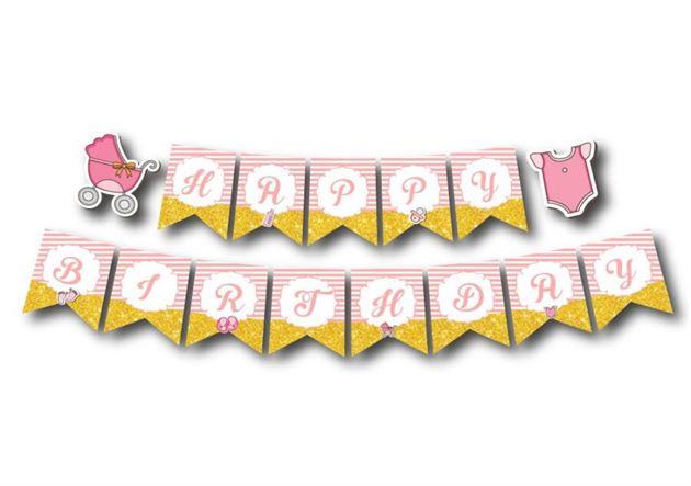 Dây chữ Happy Birthday baby girl màu hồng hoàng gia