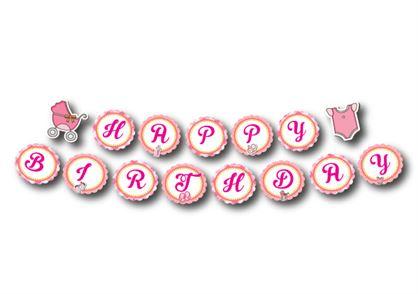 Dây chữ Happy Birthday baby girl màu hồng lưới