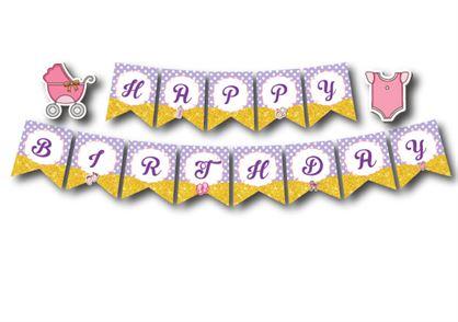 Dây chữ Happy Birthday baby girl màu tím chấm bi
