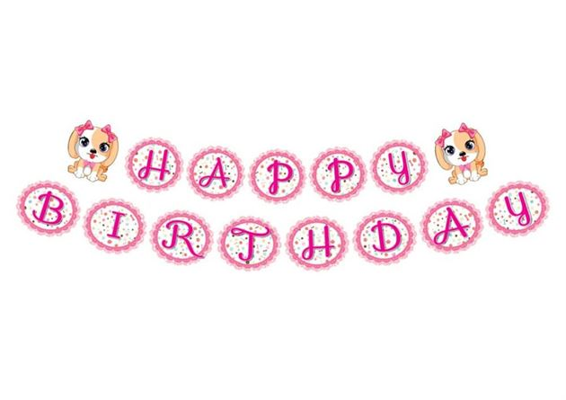 Dây chữ Happy Birthday bé gái tuổi chó