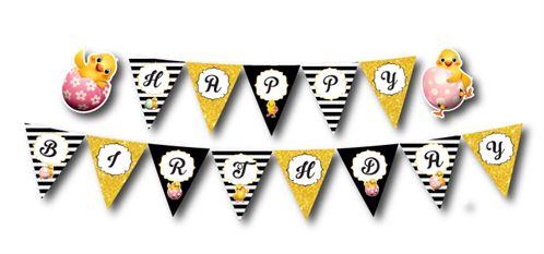 Dây chữ happy birthday bé gái tuổi gà màu đen kim tuyến