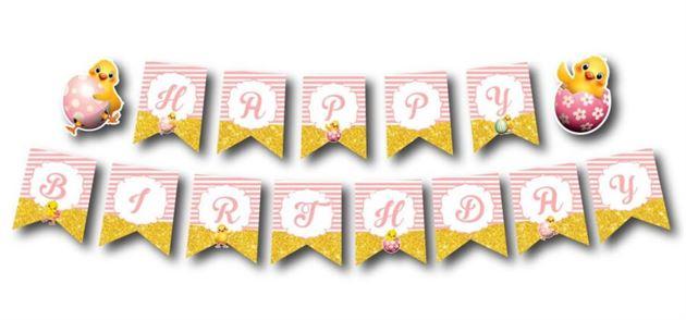 Dây chữ happy birthday bé gái tuổi gà màu hồng hoàng gia