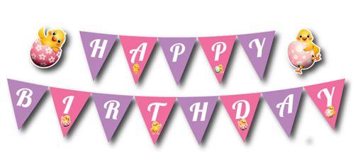 Dây chữ happy birthday bé gái tuổi gà màu hồng tím