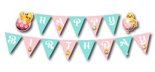 Dây chữ happy birthday bé gái tuổi gà màu hồng xanh min