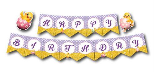 Dây chữ happy birthday bé gái tuổi gà màu tím chấm bi