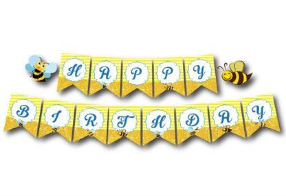 Dây chữ Happy Birthday bé Ong màu vàng hoàng gia