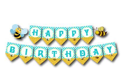 Dây chữ Happy Birthday bé Ong màu vàng xanh min