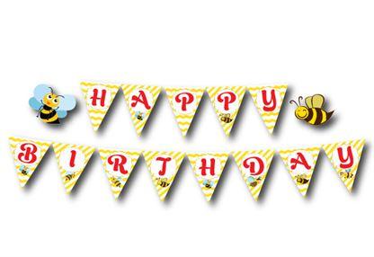 Dây chữ Happy Birthday bé Ong màu vàng zigzag