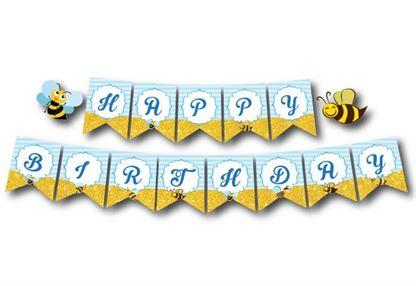 Dây chữ Happy Birthday bé Ong màu xanh da trời