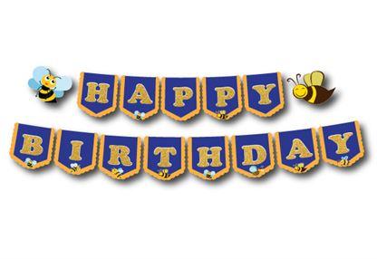 Dây chữ Happy Birthday bé Ong màu xanh hoàng gia