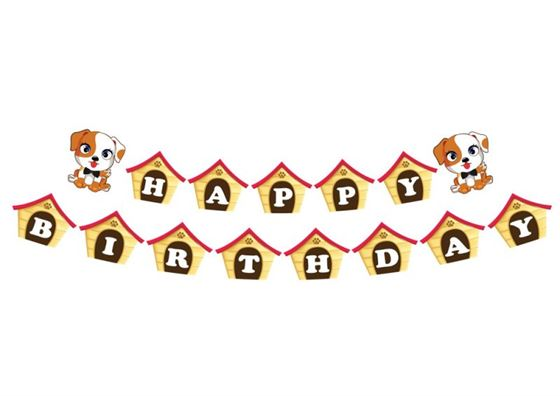 Dây chữ Happy Birthday bé trai tuổi chó