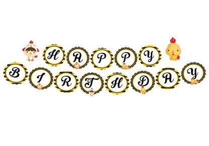 Dây chữ Happy Birthday bé trai tuổi gà màu vàng đen