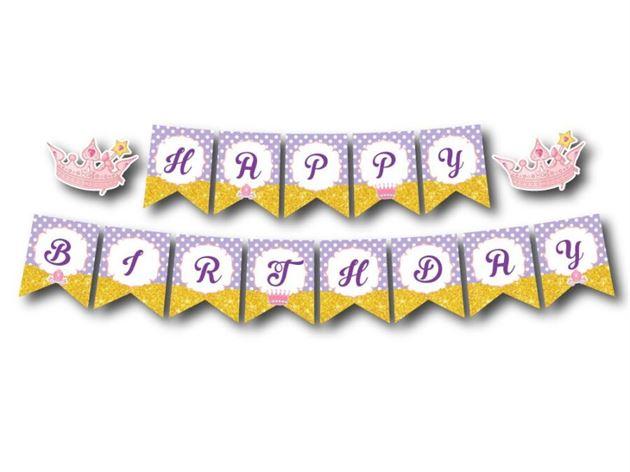 Dây chữ Happy Birthday Công Chúa màu tím chấm bi