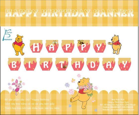 Dây Chữ Happy Birthday Gấu Pooh