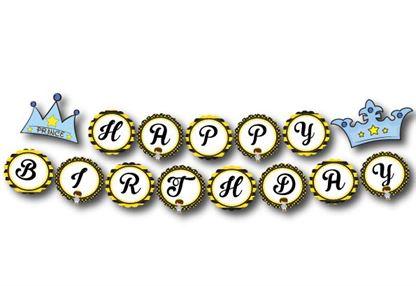 Dây chữ Happy Brthday Hoàng tử màu vàng đen