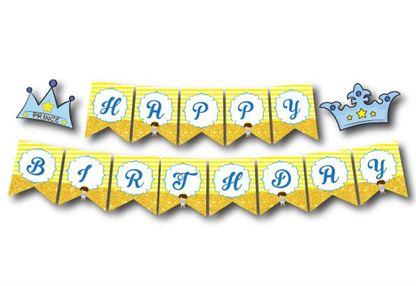 Dây chữ Happy Brthday Hoàng tử màu vàng hoàng gia