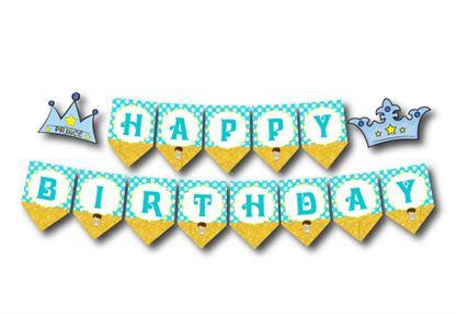 Dây chữ Happy Brthday Hoàng tử màu vàng xanh min