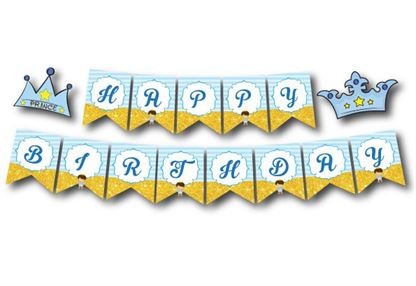 Dây chữ Happy Brthday Hoàng tử màu xanh da trời