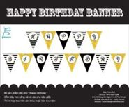 Dây chữ Happy Birthday màu đen kim tuyến