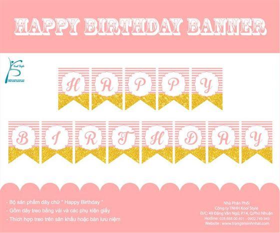 Dây chữ Happy Birthday màu hồng hoàng gia
