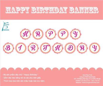 Dây chữ Happy Birthday màu hồng lưới