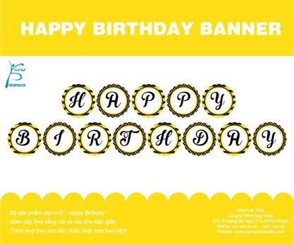 Dây chữ Happy Birthday màu vàng đen