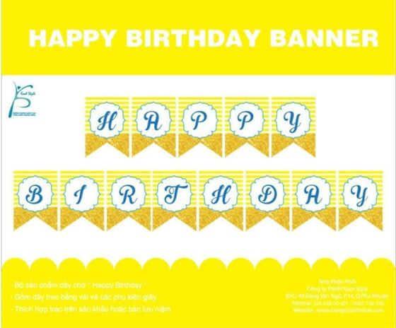 Dây chữ Happy Birthday màu vàng hoàng gia