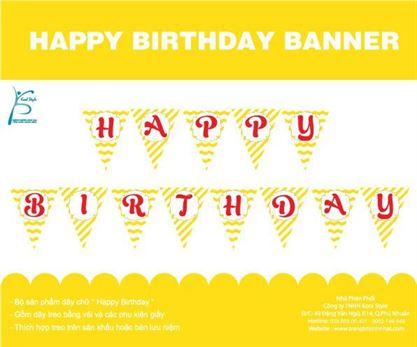 Dây chữ Happy Birthday màu vàng sọc zigzag