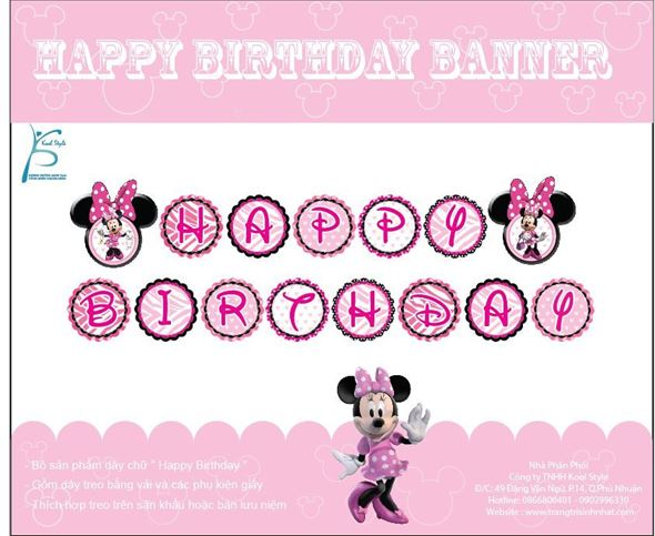 Dây Chữ Happy Birthday Minnie