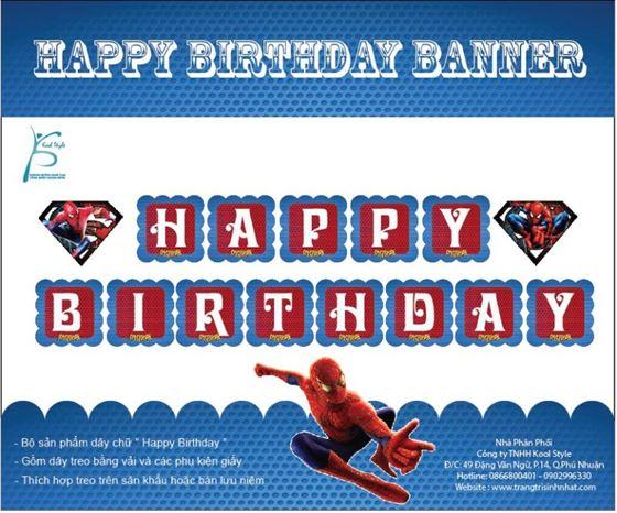 Dây Chữ Happy Birthday Spiderman ( Người Nhện )