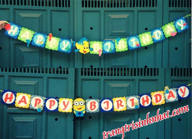 Dây Chữ Happy Birthday vải nỉ 1